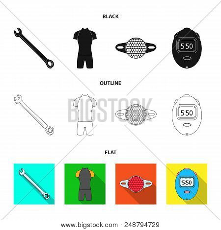 A wrench, a bicyclist bone, a reflector, a timer.Cyclist outfit set collection icons in black, flat, outline style vector symbol stock illustration . stock photo