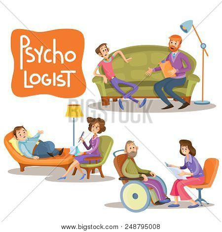 cartoon illustrations the patient is talking with psychotherapist, consultation of psychologist. Depression businessman, teenage problems, alcohol and drug addiction, persons with disabilities stock photo