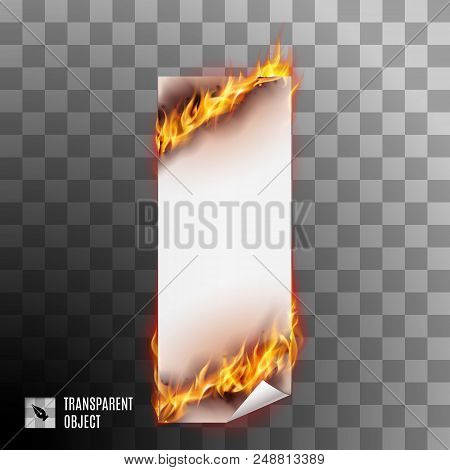Banner with Spurts of Flame. Heat and Burn, Blaze and Energy on Transparent Background stock photo