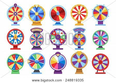Fortune wheels flat icons set. Spin lucky wheel casino money game symbols. Fortune wheel game, gamble roulette play. Vector illustration stock photo