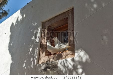 Panagia Episkopi Church in Santorini island, Thira, Cyclades, Greece stock photo