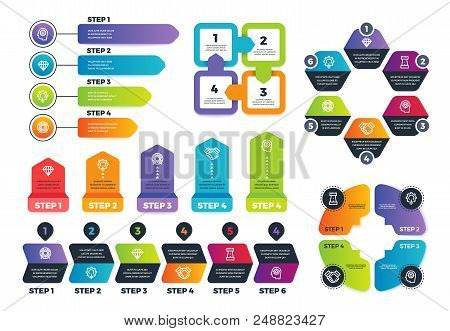 Process infographics. Business infographic elements, strategy map and chars for finance presentation. Vector template diagram infographic, infochart workflow business steps illustration stock photo