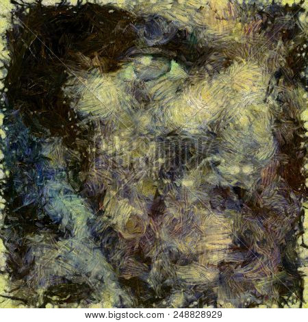 Abstract painting. Woman's face silhouette. Brush strokes in muted colors. 3D rendering stock photo