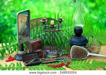 Still life of vintage objects. Collection of retro objects of everyday use, household stock photo