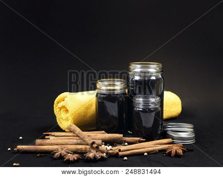 Thai herbal balm black color in glass container stock photo
