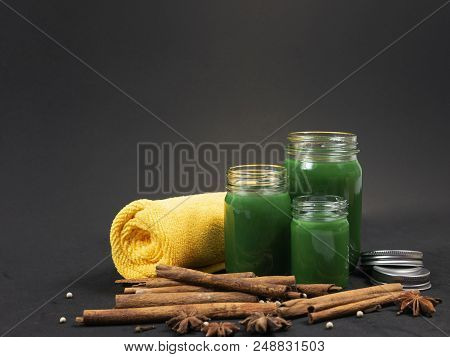 Thai herbal balm green color in glass container stock photo