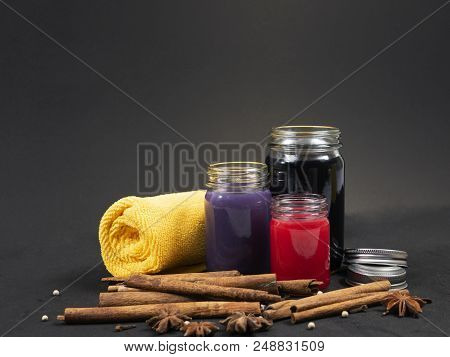 Thai herbal balm in verity color violet black and red stock photo