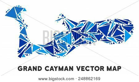 Grand Cayman Island map mosaic of blue triangle elements in various sizes and shapes. Vector triangles are composed into geographic Grand Cayman Island map mosaic. stock photo