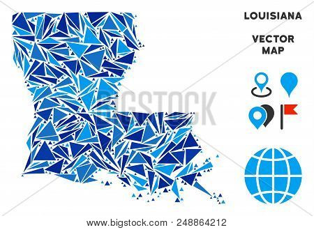 Louisiana State map collage of blue triangle items in various sizes and shapes. Vector triangles are arranged into geographic Louisiana State map illustration. stock photo