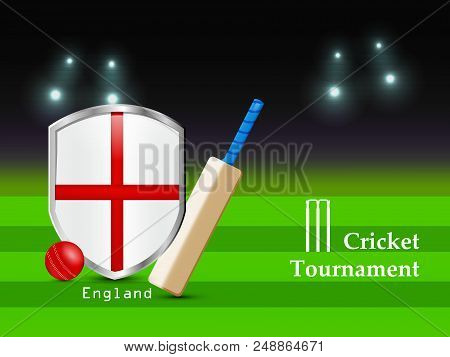 illustration of Cricket bat, Cricket ball and England Flag with Cricket Tournament text on the occasion of Cricket Sport Tournament stock photo