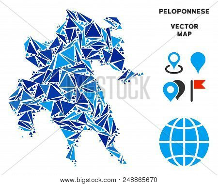 Peloponnese Peninsula map collage of blue triangle items in variable sizes and shapes. Vector triangles are organized into geographic Peloponnese Peninsula map collage. stock photo