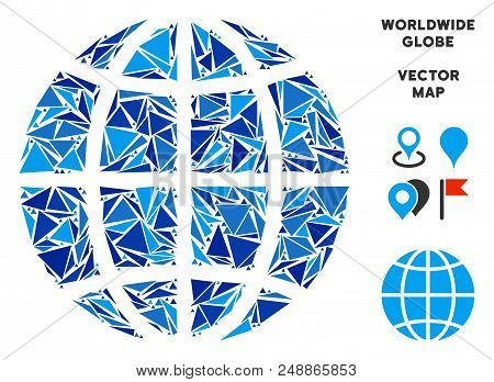 Planet globe collage of blue triangle elements in various sizes and shapes. Vector polygons are organized into geographic planet globe shape. stock photo