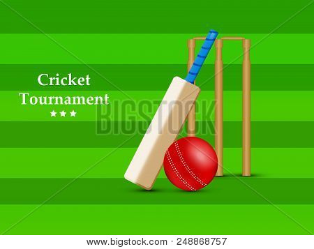 illustration of Cricket bat, Cricket ball and India Flag with Cricket Tournament text on the occasion of Cricket Sport Tournament stock photo