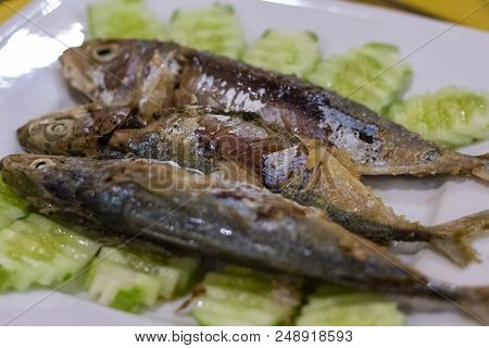 Grilled fish served for eat. Restaurant seafood dish closeup photo. Roasted sea fish with vegetable on white plate. Sea food restaurant menu. Sea fish cooking recipe. Juicy fish barbecue. Seaside cafe stock photo