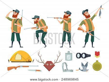Hunters equipment. Various tools for duck hunters. Illustration of hunter and gun, equipment weapon stock photo