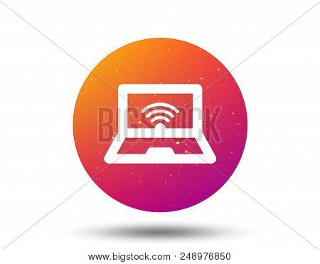 Computer with wifi icon. Notebook or laptop pc symbol. Circle button with Soft color gradient background. Vector stock photo