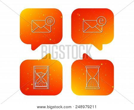 Mail, e-mail and hourglass icons. E-mail inbox linear sign. Orange Speech bubbles with icons set. Soft color gradient chat symbols. Vector stock photo