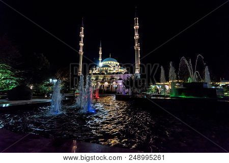 Evening view of Akhmad Kadyrov Mosque in Grozny, Chechnya, Russia. It is one of the largest mosques in Russia and is officially known as The Heart of Chechnya stock photo