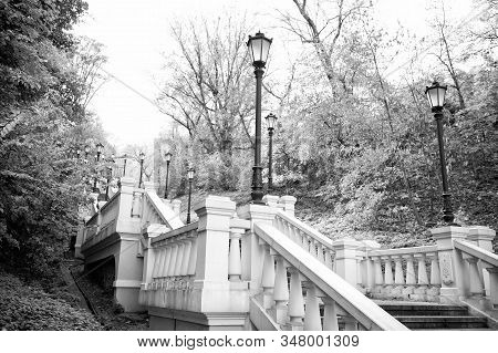 A picturesque landscape. Stone staircase. Staircase in autumn park. Park staircase on autumn day. Art staircase construction. Classic design and architecture. stock photo