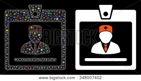 Glossy mesh doctor badge icon with glow effect. Abstract illuminated model of doctor badge. Shiny wire carcass polygonal mesh doctor badge icon. Vector abstraction on a black background. stock photo