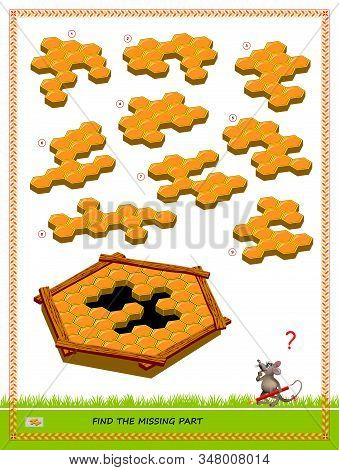 Logic puzzle game for children and adults. Find the missing part of honeycombs. Printable page for kids brain teaser book. Developing spatial thinking skills. IQ training test. Vector image. stock photo