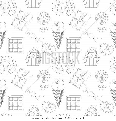 seamless pattern coloring page with cake, ice cream, cupcake, candy, donuts, chocolate, waffle, pretzel, Lollipop and other dessert. Sweet dessert coloring book. Vector isolated dessert stock photo