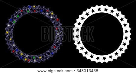 Glowing mesh starred rosette round frame icon with glare effect. Abstract illuminated model of starred rosette round frame. Shiny wire carcass triangular mesh starred rosette round frame icon. stock photo
