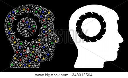 Glossy mesh human memory wheel icon with lightspot effect. Abstract illuminated model of human memory wheel. Shiny wire carcass polygonal mesh human memory wheel icon. stock photo