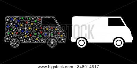 Glossy mesh van icon with glow effect. Abstract illuminated model of van. Shiny wire frame triangular mesh van icon. Vector abstraction on a black background. Abstract 2d mesh designed with triangles, stock photo