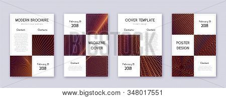 Business brochure design template set. Orange abstract lines on wine-red background. Adorable brochure design. Noteworthy catalog, poster, book template etc. stock photo