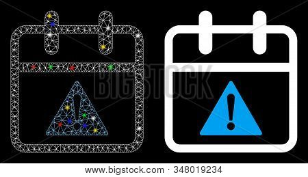 Glowing mesh problem day icon with glare effect. Abstract illuminated model of problem day. Shiny wire frame polygonal mesh problem day icon. Vector abstraction on a black background. stock photo