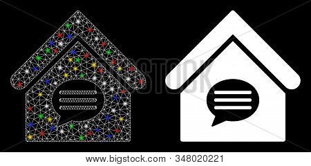 Glowing mesh realty message icon with glitter effect. Abstract illuminated model of realty message. Shiny wire frame polygonal mesh realty message icon. Vector abstraction on a black background. stock photo