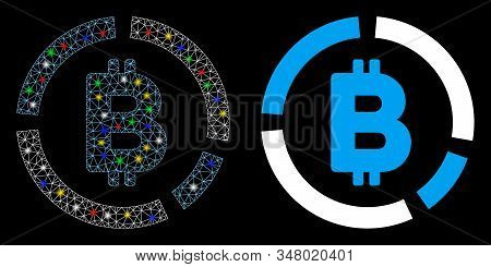 Glowing mesh Bitcoin diagram icon with glow effect. Abstract illuminated model of Bitcoin diagram. Shiny wire carcass triangular mesh Bitcoin diagram icon. Vector abstraction on a black background. stock photo