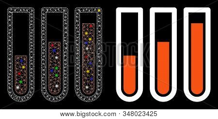 Glowing mesh blood analysis icon with lightspot effect. Abstract illuminated model of blood analysis. Shiny wire frame triangular mesh blood analysis icon. Vector abstraction on a black background. stock photo