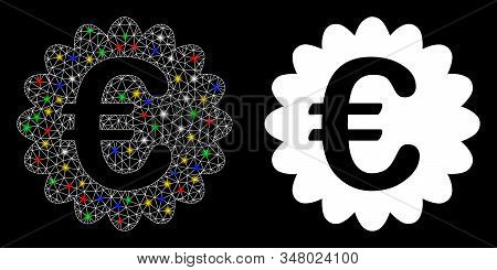 Glowing mesh Euro award seal icon with glare effect. Abstract illuminated model of Euro award seal. Shiny wire frame triangular network Euro award seal icon. Vector abstraction on a black background. stock photo