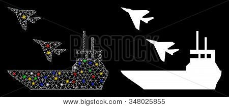 Glossy mesh aircraft carrier icon with sparkle effect. Abstract illuminated model of aircraft carrier. Shiny wire carcass polygonal mesh aircraft carrier icon. stock photo