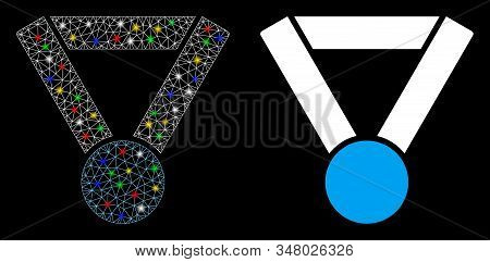 Glossy mesh champion award icon with sparkle effect. Abstract illuminated model of champion award. Shiny wire carcass triangular mesh champion award icon. Vector abstraction on a black background. stock photo