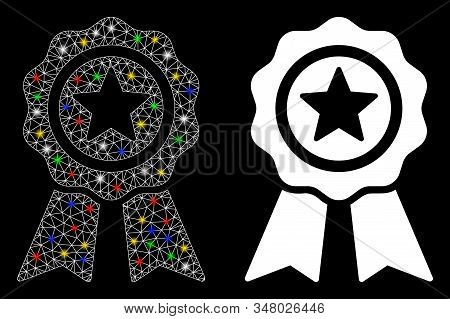 Glowing mesh achievement seal icon with glare effect. Abstract illuminated model of achievement seal. Shiny wire carcass polygonal mesh achievement seal icon. Vector abstraction on a black background. stock photo