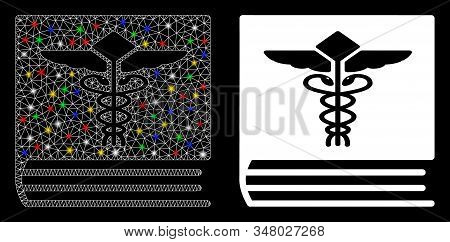 Glowing mesh medical book icon with glow effect. Abstract illuminated model of medical book. Shiny wire carcass triangular mesh medical book icon. Vector abstraction on a black background. stock photo