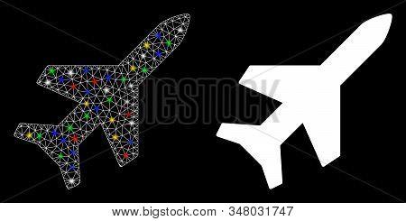 Flare mesh aeroplane icon with glare effect. Abstract illuminated model of aeroplane. Shiny wire frame polygonal mesh aeroplane icon. Vector abstraction on a black background. stock photo