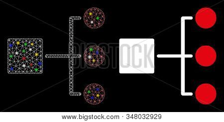 Glossy mesh structure diagram icon with sparkle effect. Abstract illuminated model of structure diagram. Shiny wire carcass polygonal network structure diagram icon. stock photo