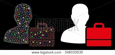 Glowing mesh accounter icon with glare effect. Abstract illuminated model of accounter. Shiny wire carcass polygonal mesh accounter icon. Vector abstraction on a black background. stock photo