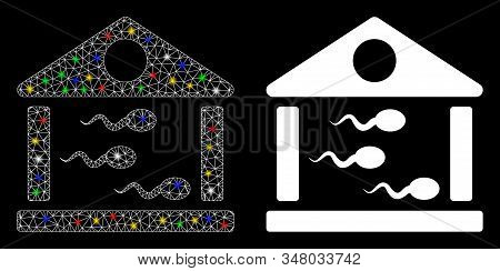 Glowing mesh sperm bank icon with glare effect. Abstract illuminated model of sperm bank. Shiny wire carcass polygonal mesh sperm bank icon. Vector abstraction on a black background. stock photo