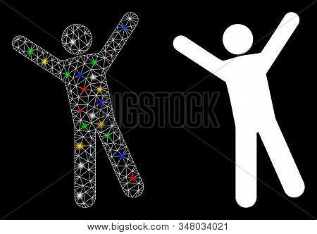 Flare mesh man joy icon with glare effect. Abstract illuminated model of man joy. Shiny wire carcass polygonal mesh man joy icon. Vector abstraction on a black background. stock photo