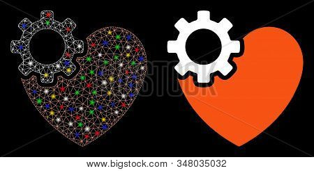 Glowing mesh heart surgery icon with glow effect. Abstract illuminated model of heart surgery. Shiny wire frame triangular mesh heart surgery icon. Vector abstraction on a black background. stock photo