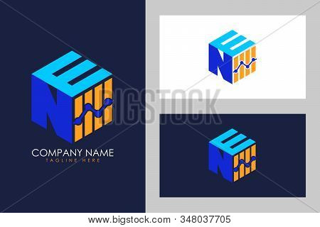 Cubic font N E with financial logo sign symbol, Vector isometric alphabet stock photo