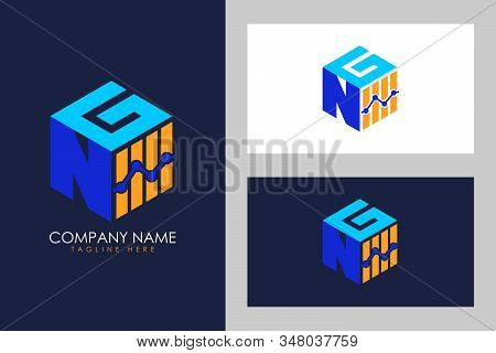 Cubic font N G with financial logo sign symbol, Vector isometric alphabet stock photo
