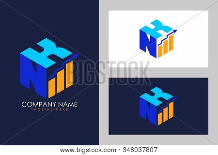 Cubic font N K with financial logo sign symbol, Vector isometric alphabet stock photo