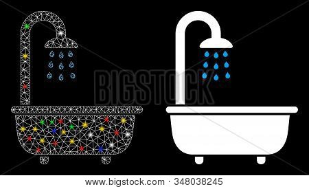 Glowing mesh bath shower icon with lightspot effect. Abstract illuminated model of bath shower. Shiny wire frame triangular mesh bath shower icon. Vector abstraction on a black background. stock photo