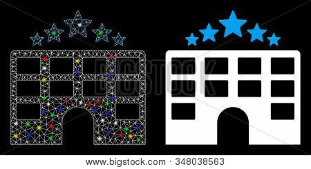 Glowing mesh hotel stars icon with glare effect. Abstract illuminated model of hotel stars. Shiny wire carcass polygonal mesh hotel stars icon. Vector abstraction on a black background. stock photo